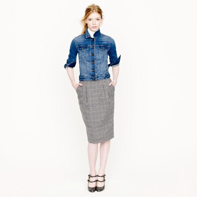 Collection pencil skirt in windowpane