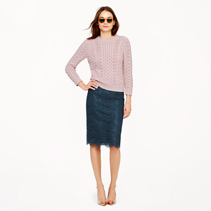 Petite Collection pencil skirt in scalloped lace