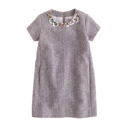 Girls' jeweled herringbone shift dress