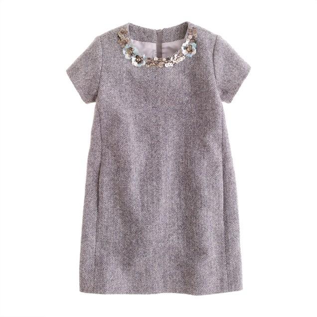 Girls' jeweled herringbone shift dress