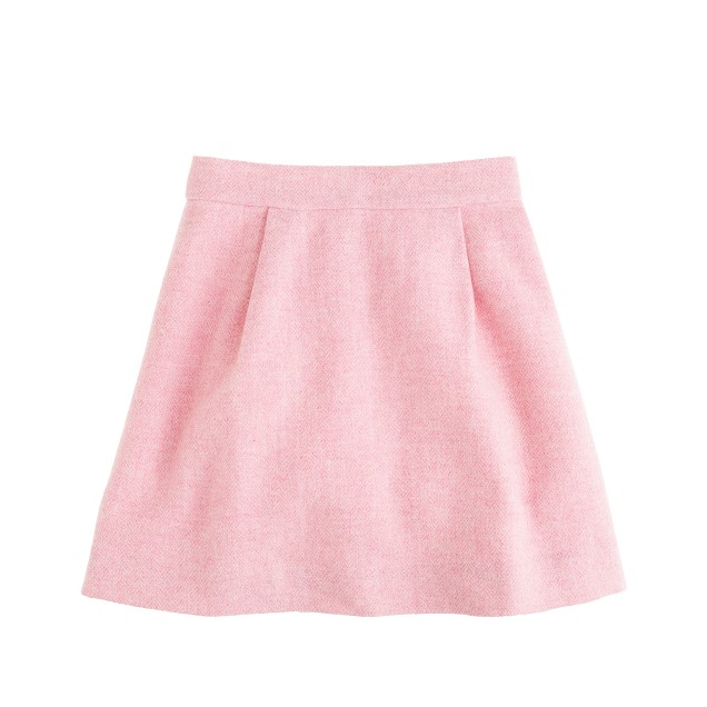 Girls' pleated swing skirt in herringbone