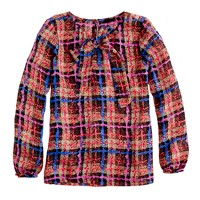 Collection bow blouse in electric plaid