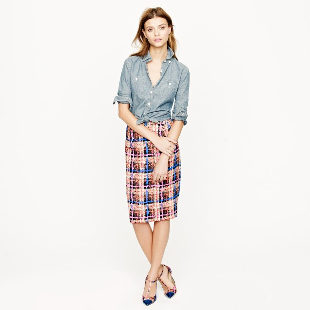 Collection pencil skirt in electric plaid