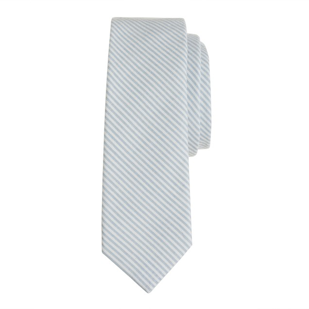 Boys' tie in skinny-stripe seersucker