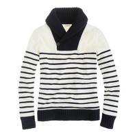 Shawl-collar stripe sweatshirt