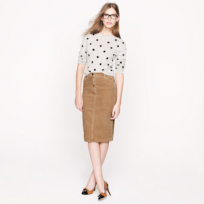 High-waisted corduroy pencil skirt