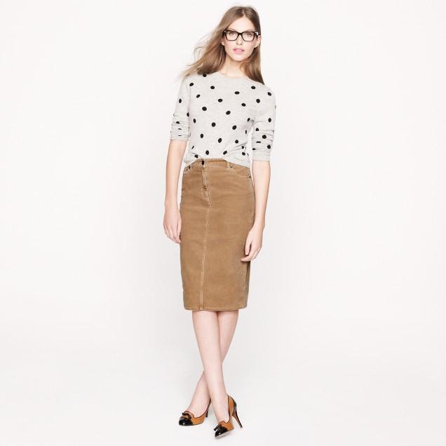 High-waisted corduroy pencil skirt