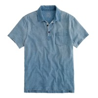 Faded indigo slub jersey polo