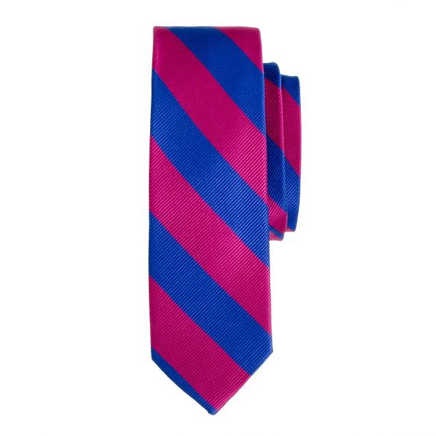 Boys' silk tie in royal stripe