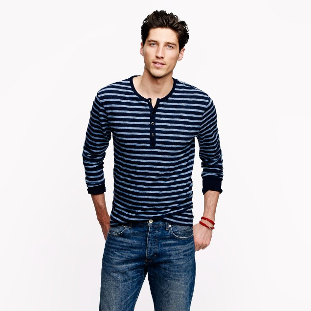 Indigo henley in heathered stripe