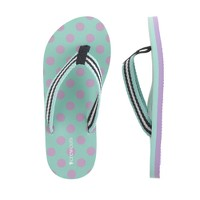 Girls' neon woven strap flip-flops