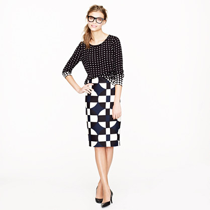Petite No. 2 pencil skirt in graphic print