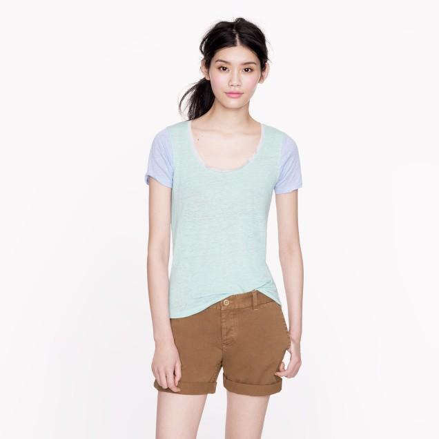 Linen scoopneck T-shirt in colorblock