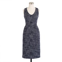 Sleeveless shift dress in pepper tweed