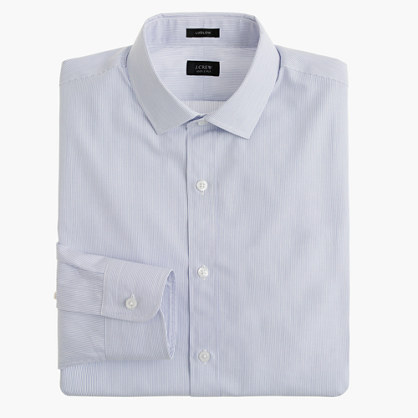 Tall Ludlow spread-collar shirt in atlantic stripe