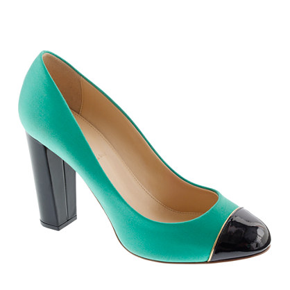 Etta cap toe satin pumps