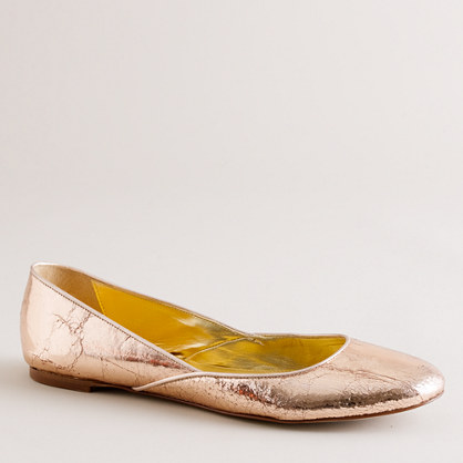 Jane crackle-metallic ballet flats