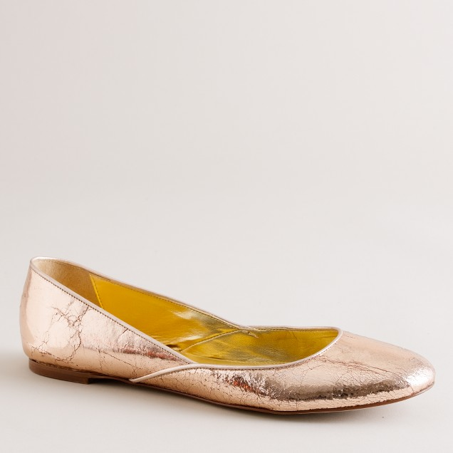 Jane crackle-metallic ballet flats