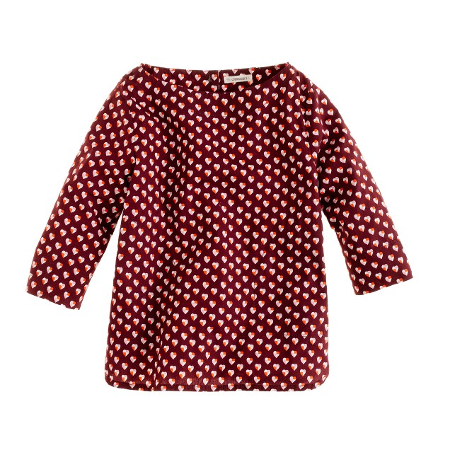 Girls' button-back shirt in heart print