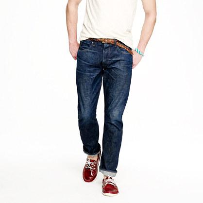 Wallace & Barnes slim selvedge jean in dark wear wash