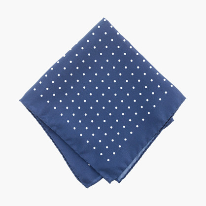 Italian silk pocket square in classic dot
