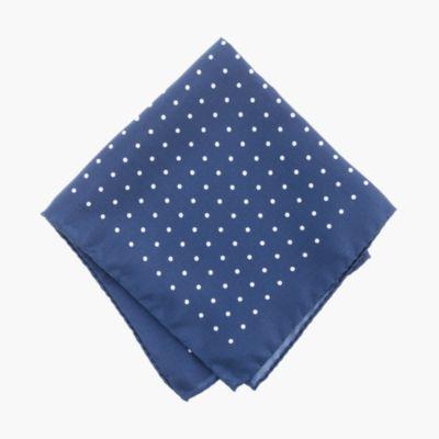 Italian silk pocket square in classic dot