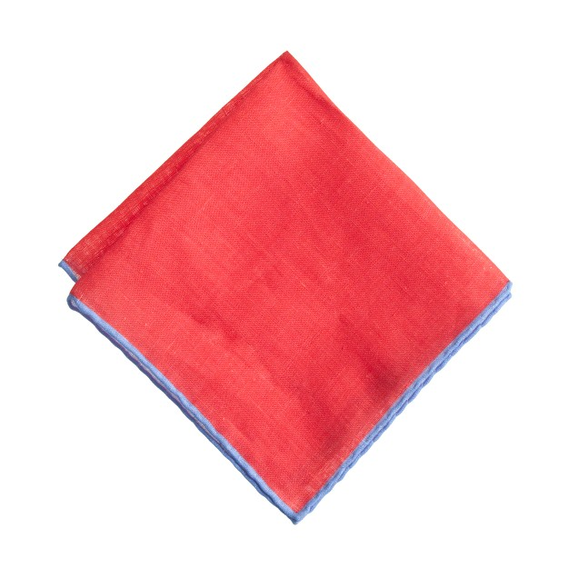 Linen pocket square in two-tone