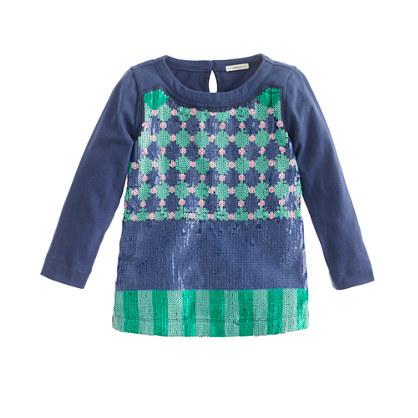 Girls' three-quarter sleeve geometric dot sequin tee