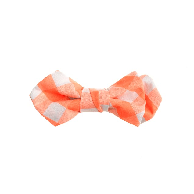Boys' neon gingham bow tie