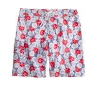 "9"" board short in white floral"