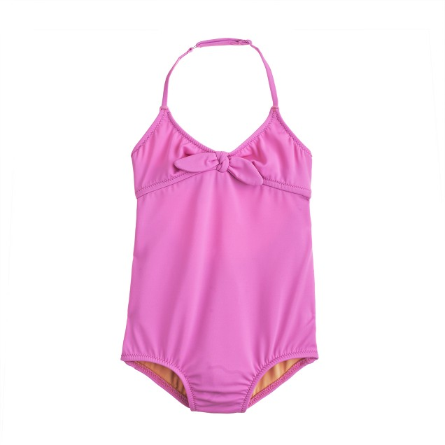Girls' bow one-piece swimsuit in neon