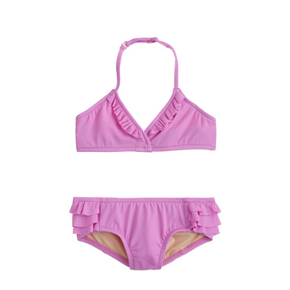 Girls' tiny ruffles bikini set in neon