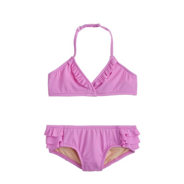 Girls' tiny ruffles bikini set in neon