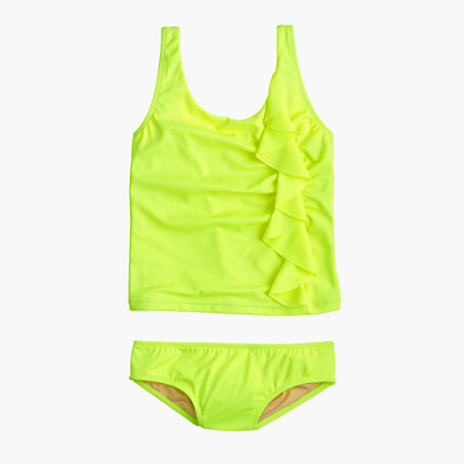 Girls' ruffle tankini set in neon