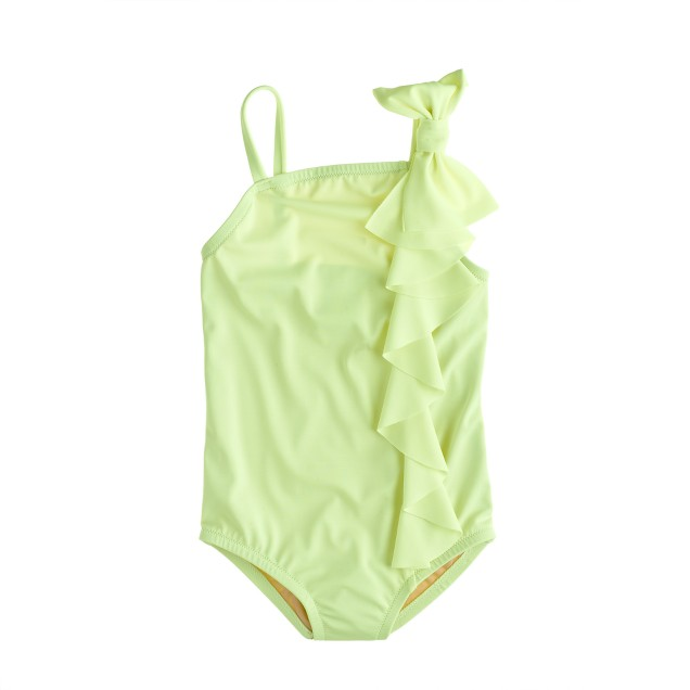 Girls' ruffle bow one-piece swimsuit in neon