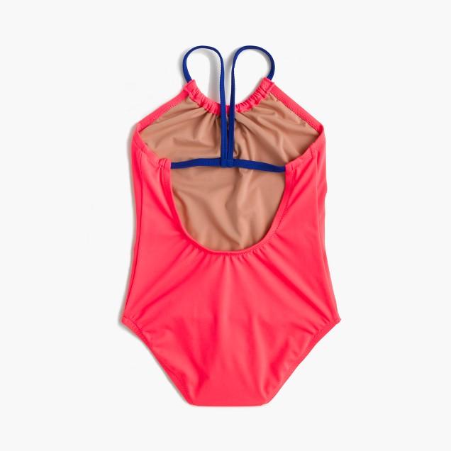 Girls' racerback neon one-piece swimsuit