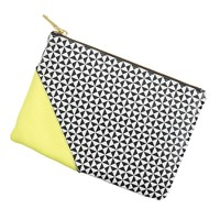Pattern-block leather pouch