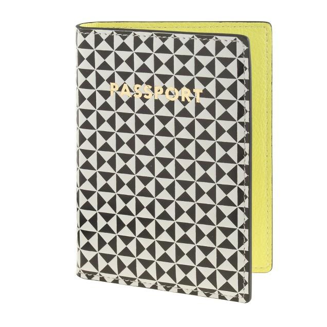 Pattern-block leather passport case