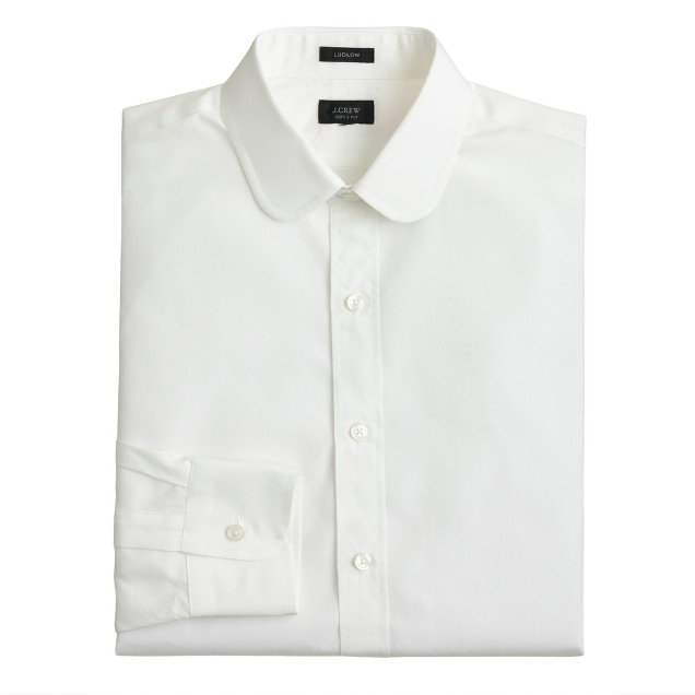 Ludlow white club-collar shirt in solid