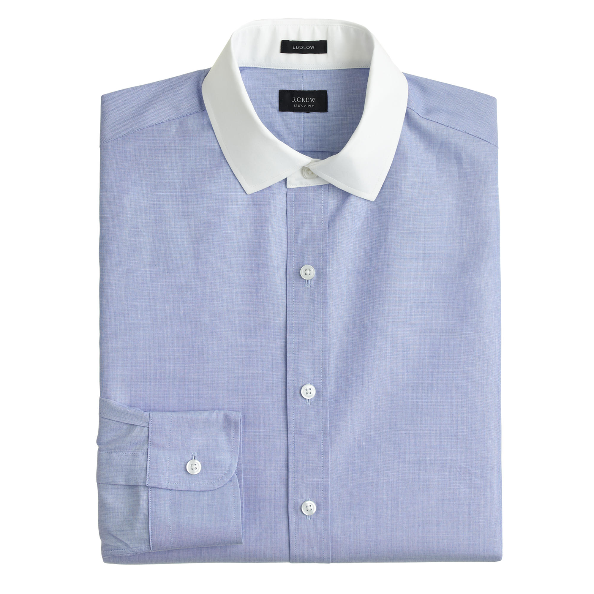 Ludlow White Collar Shirt In End On End Cotton J Crew