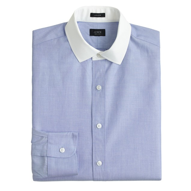 Ludlow white-collar shirt in end-on-end cotton