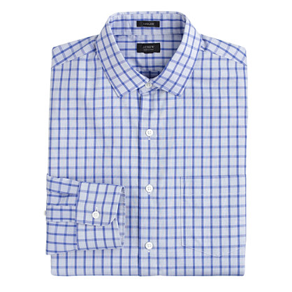 Tall Ludlow spread-collar shirt in vintage periwinkle check