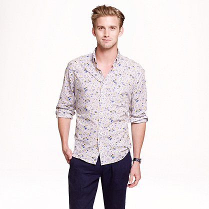 Slim cotton shirt in floral