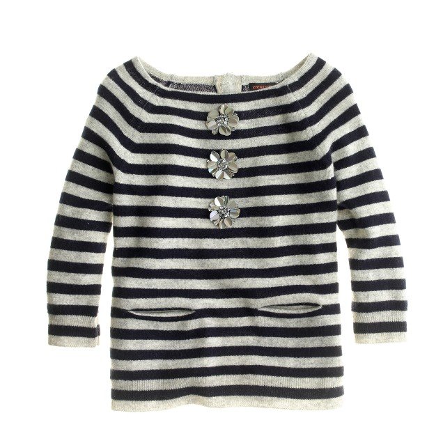Girls' cashmere sweater in embellished stripe