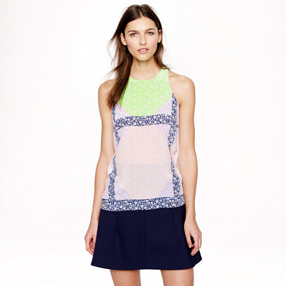 Windowpane floral silk top