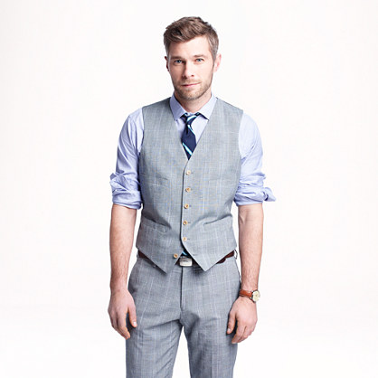 Ludlow suit vest in glen plaid Italian wool-linen