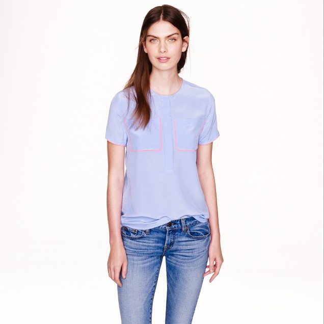 Piped silk T-shirt