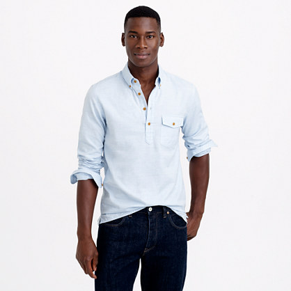 Brushed twill popover shirt in heather sky herringbone