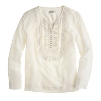 Silk eyelet bib top