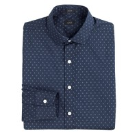 Ludlow spread-collar shirt in Hudson navy dots